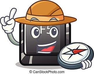 Explorer button f5 in the shape cartoon vector illustration
