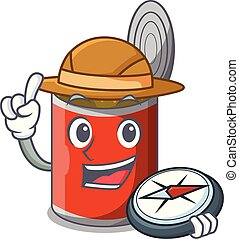 Explorer canned food on the table cartoon