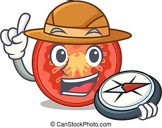 Explorer cartoon fresh tomato slices for cooking