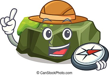 Explorer cartoon large stone covered with green moss vector...
