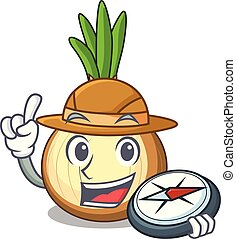 Explorer cartoon ripe yellow onion for cooking