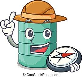 Explorer cartoon water tank on the tower vector illustration