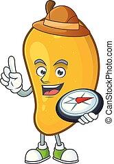 Explorer character mango fruit with cartoon mascot