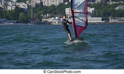 explorer, clair, watersports., windsurf., cavalcade, vacances, eau, sportifs, ocean., actif