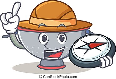 Explorer colander utensil character cartoon vector...