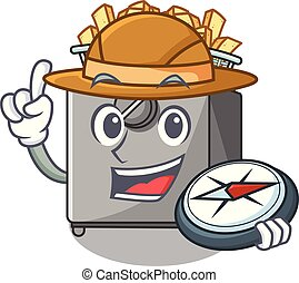 Explorer cooking french fries in deep fryer cartoon vector...