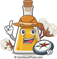 Explorer cottonseed oil in the cartoon shape vector ...