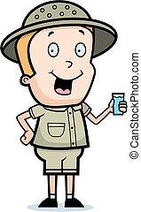 Explorer Drink - A happy cartoon explorer with a glass of...