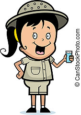 Explorer Drink - A happy cartoon child explorer with a drink...