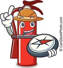 Explorer fire extinguisher mascot cartoon