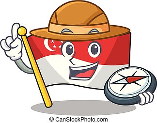 Explorer flag singapore isolated with the character vector illustration