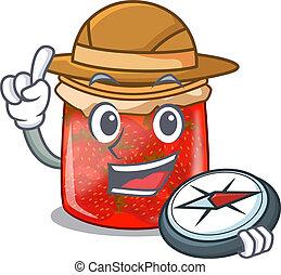 Explorer fresh tasty strawberry jam on mascot vector...