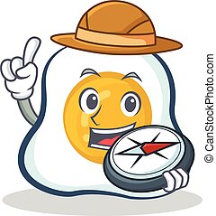 Explorer fried egg character cartoon