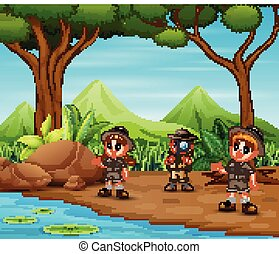 explorer, gosses, forêt, scout