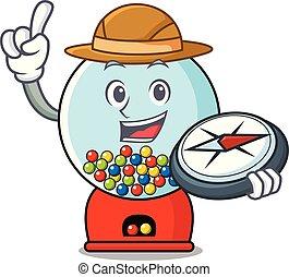 Explorer gumball machine mascot cartoon vector illustration