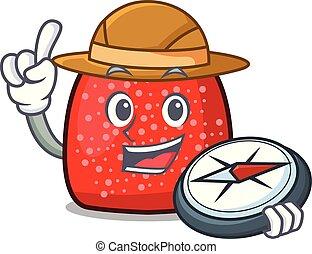 Explorer gumdrop mascot cartoon style vector illustration