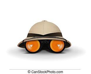 Explorer Hat and Binocular