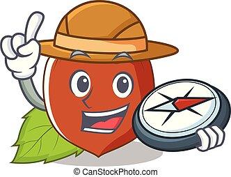 Explorer hazelnut mascot cartoon style