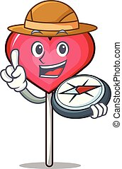 Explorer heart lollipop mascot cartoon vector illustration