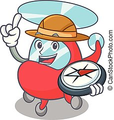 Explorer helicopter mascot cartoon style