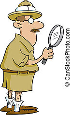 Explorer holding a magnifying glass - Cartoon illustration...
