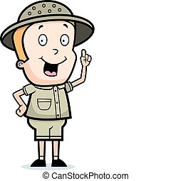 Explorer Idea - A happy cartoon explorer with an idea.