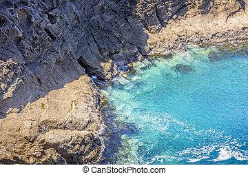 explorer, idyllique, côtier, baies, mer, cavernes