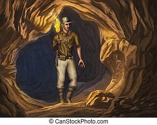 Explorer in a cave - Adventurer with a flaming torch in his...