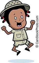 Explorer Jumping - A happy cartoon child explorer jumping...