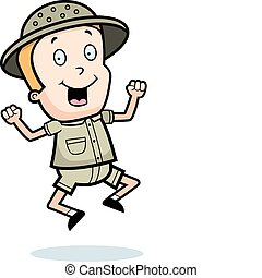 Explorer Jumping - A happy cartoon explorer jumping and ...