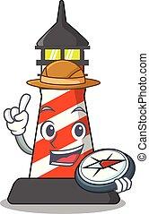 Explorer lighthouse on the beach mascot