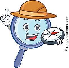 Explorer magnifying glass character cartoon