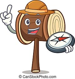 Explorer mallet mascot cartoon style