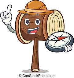 Explorer mallet mascot cartoon style