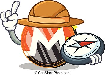 Explorer Monero coin character cartoon vector illustration