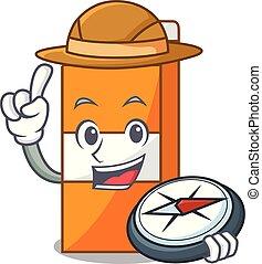 Explorer package juice mascot cartoon