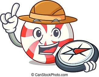Explorer peppermint candy mascot cartoon