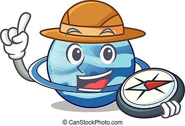 Explorer planet uranus in the cartoon form vector...