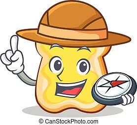 Explorer slice bread cartoon character vector art...