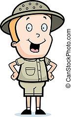 Explorer Smiling - A happy cartoon child explorer standing...