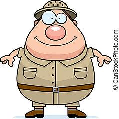 Explorer Smiling - A happy cartoon explorer standing and...