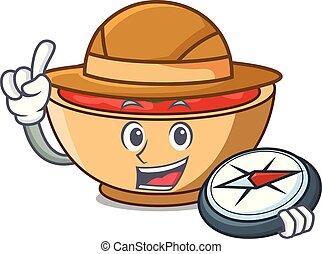 Explorer tomato soup character cartoon