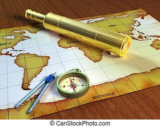 Explorer tools - Telescope and compass on a world map. ...