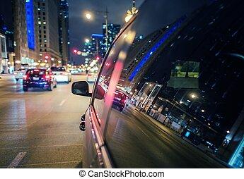 explorer, ville, nuit