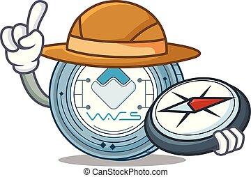 Explorer Waves coin mascot cartoon