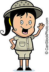 Explorer Waving - A happy cartoon child explorer waving and...