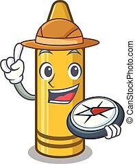 Explorer yellow crayon in the cartoon wallet