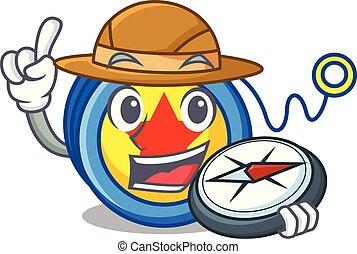 Explorer yoyo mascot cartoon style vector illustration