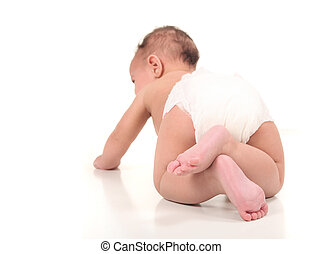 Exploring Infant Baby Boy Crawling - Infant Baby Boy...