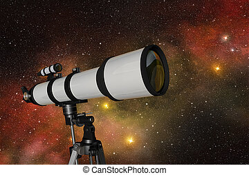 exploring the universe - white telescope in a starry night...